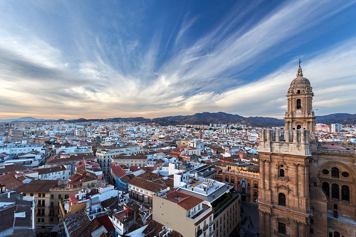 Centripetal acceleration - Malaga, Andalusia, Spain, view from the roof of building
